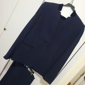Blue Elie Tahari Suit with Velvet Trim